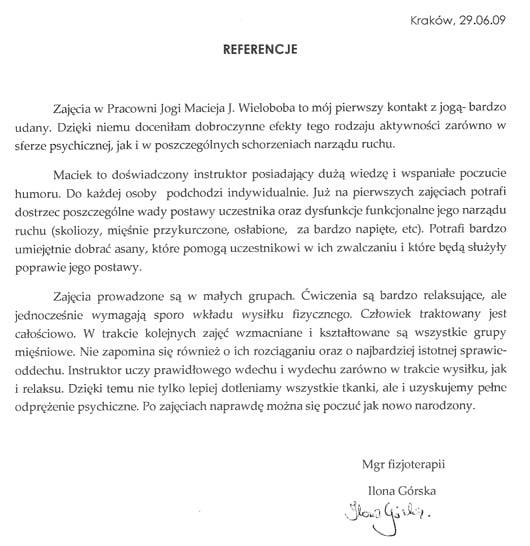 Opinia fizjoterapeuty o jodze w Pracowni Jogi Macieja Wieloboba